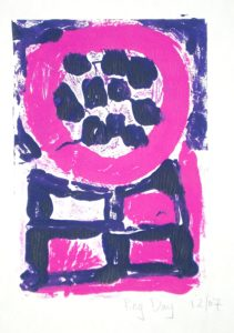 Pink Circle with Purple Dots by Reg Day