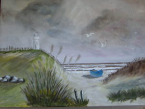 Boat moored by lighthouse by Heather Ramshaw