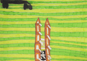 Cat on the Grass with Towers 2 by Saffron Wright