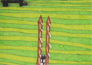 Cat on the Grass with Towers 3 by Saffron Wright