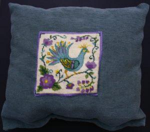 The peacock Cushion by Samantha Gamage