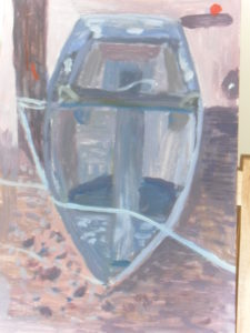 Blue boat by Caroline
