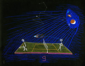 Serena & Venus playing badminton. by John Devlin
