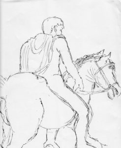 roman youth on horseback 3 by Mike Hughes
