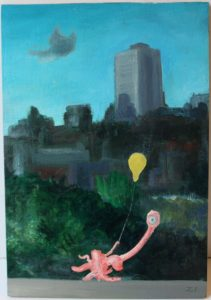 Cyclops with a Balloon by A Fish Pursuing a Cloud