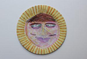 simon_hannaford__petulant_face__24_x_24_cm_circle__felt_tip_of_paper_plate by Simon Hannaford