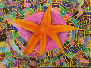 Yellow Starfish on Pink Sea Anemoe by Simon Hannaford