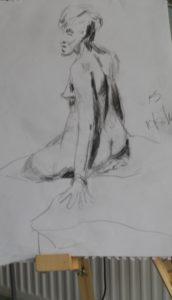 Back study of sitting nude by blodwyn jones