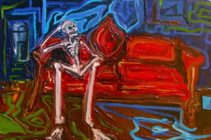 Skeleton Sitting by Annabelle Jah