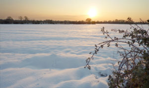 Snowy Sunset by Snowy Chichester Cathedral