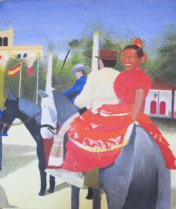 Spanish Girl on the horse by Barry Skinner