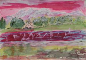 Red Sky Over Hills by Sylvia Scarsbrook