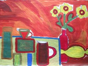 Still Life on Orange Background by Jenny Lewis