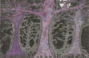Swithland Oaks in Moonlight by Lauren M Foster