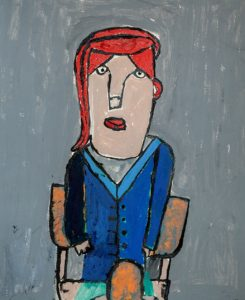 Woman in a chair with red hair by Sarah McGreevy