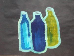 Three Bottles on Liquorice Background by Jenny Lewis