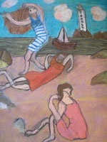 Three Girls on a Beach (after Picasso) by Jacqueline Burton