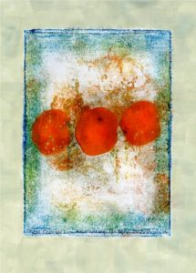 Three Oranges Monoprint. by SeaSideSean