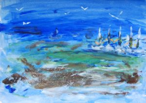 Moored Yachts and Seagulls by Tom Paine