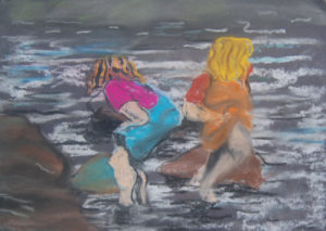 two_girls_paddling by Robert Russell