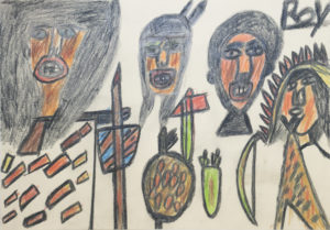 Untitled (Native Americans with weapons) by Roy Collinson