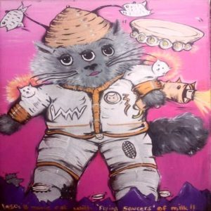 Three Eyed alien cat with flying saucers of milk by Jasmine Surreal