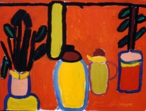 Vases on Orange Background by Jenny Lewis