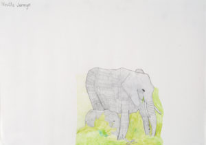 Elephant and Calf by Self-Portrait