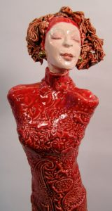 woman in red by Athol Tufnell