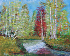 Woodland Scene with Waterfalls by Bernard Parker