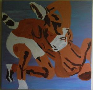 Wrestlers by J Barry