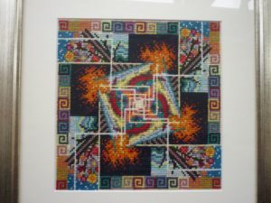 x_stitch_mandala_framed by Inanna