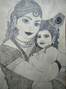 YASHODA -KRISHNA (Indian child diety with mother )1996 by Sandeep Kumar Mishra