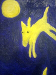 Yellow Dog and Moon by mcmouse