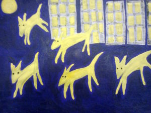 Yellow Dogs Running by mcmouse