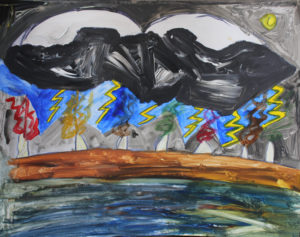 zoe_wilton___bad_weather_thunder_at_night__acrylic_paint_on_paper__49_x_39_cm by Zoe Wilton