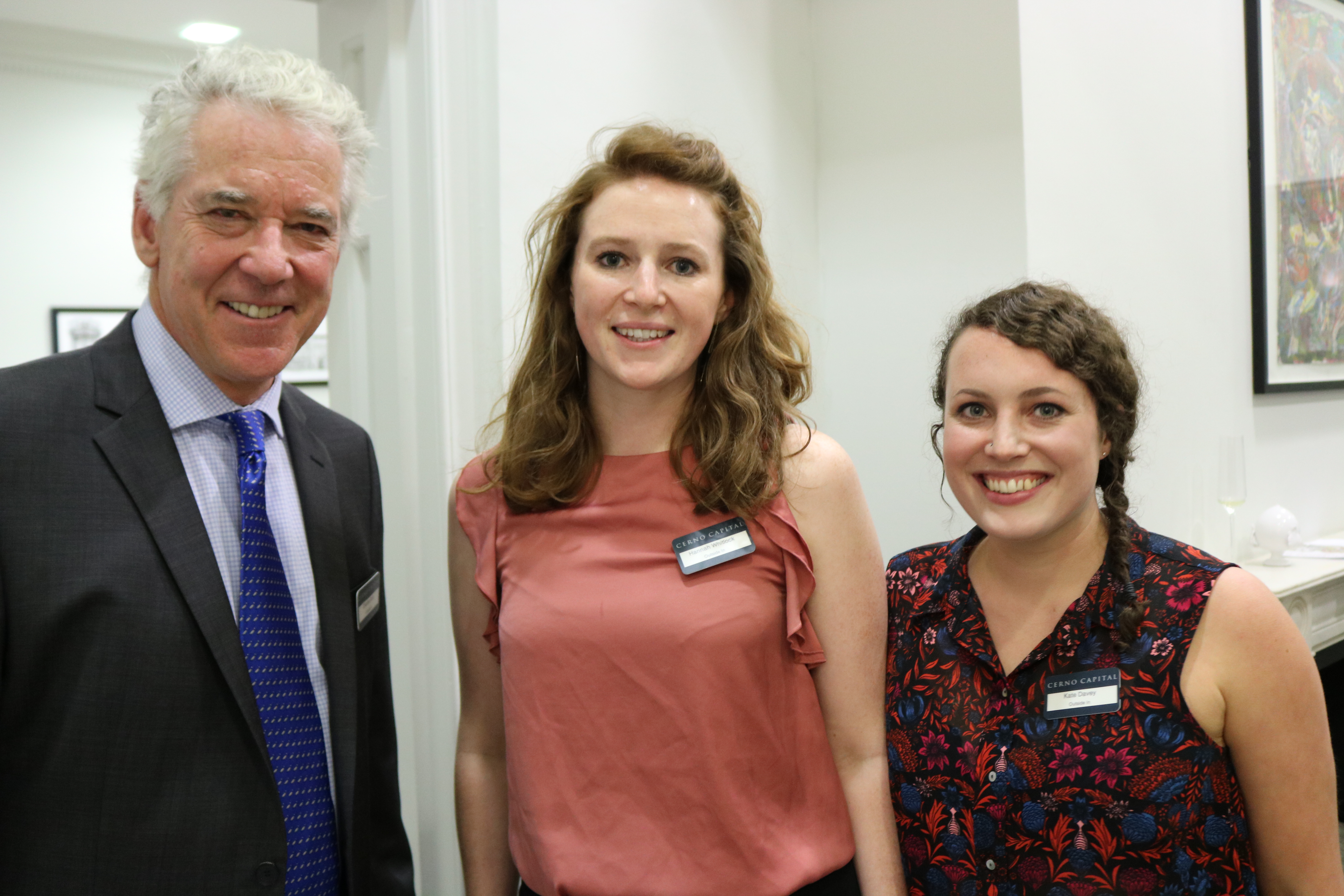 Outside In chairman Charles Rolls with Outside In team members Hannah Whitlock and Kate Davey