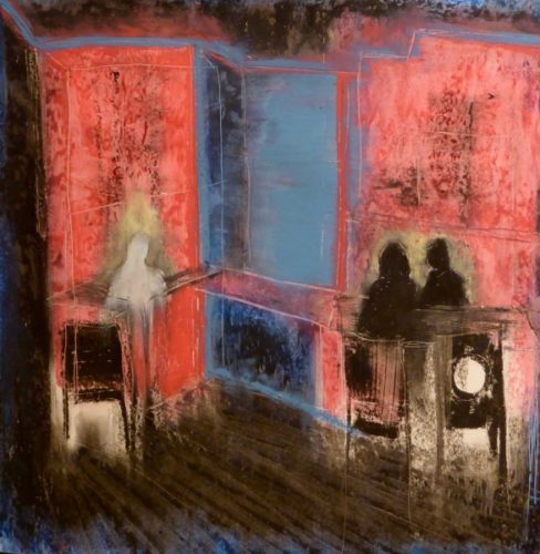 Two Seated and One Solitary Figure by Jim Aitchison