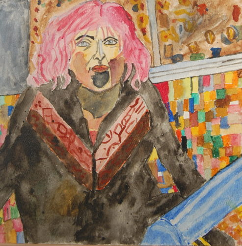Lady with pink hair by John Young