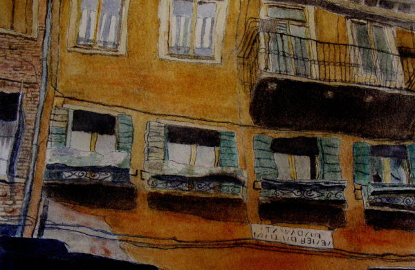 Reflected buildings in Venice by jayne morgan