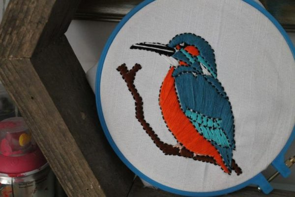 Kingfisher Embroidery by Freya Lee