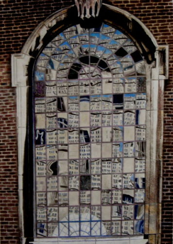 Reflected buildings on a church window. by jayne morgan