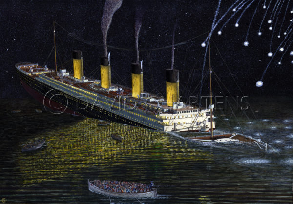 The Titanic Sinking by The Bow by David Chartens