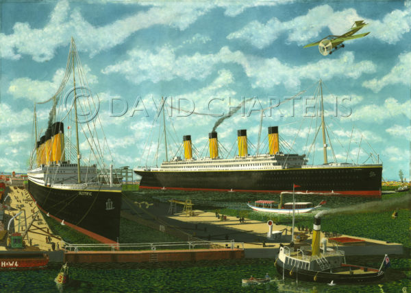 Titanic and Olympic at Belfast by David Chartens