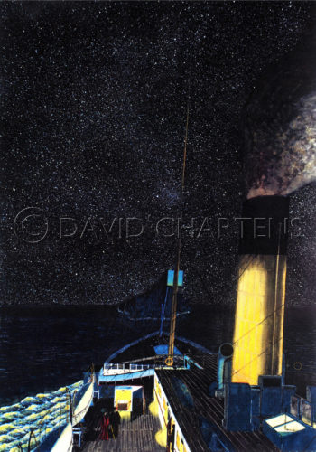 Titanic Approaching The Ice by David Chartens