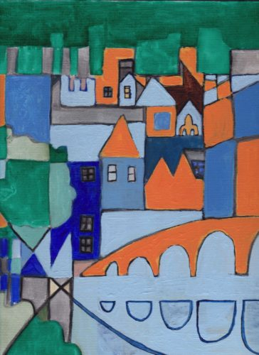 Bradford on Avon town centre, in a post-Cubist style. by Stephen Powlesland