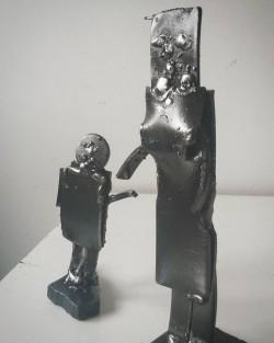 Metal sculpture figures