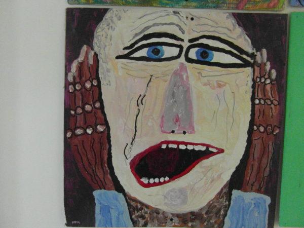 Me as the scream- in cardboard by Chris Miller