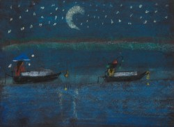 Painting of boats at night
