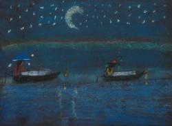 Painting of boats at night